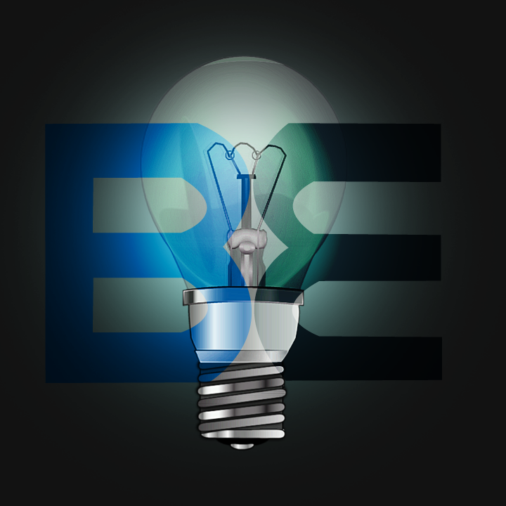 Britain Electric bulb logo with black background